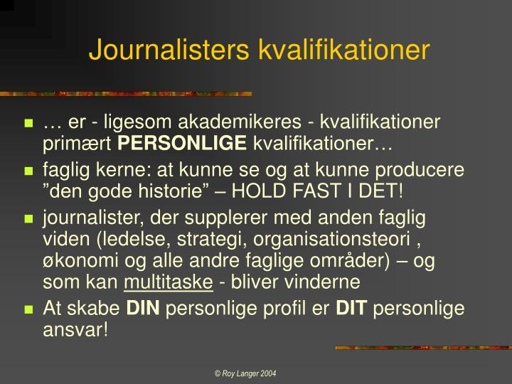 Journalisters kvalifikationer
