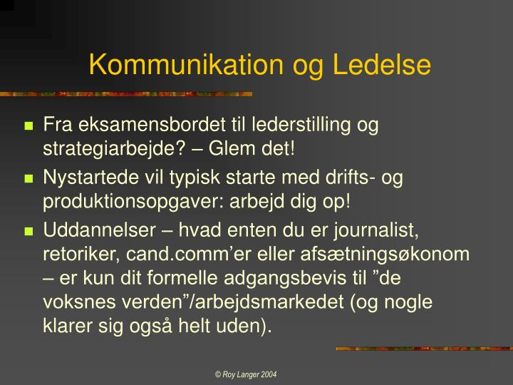 Kommunikation og Ledelse
