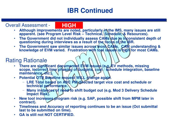 IBR Continued