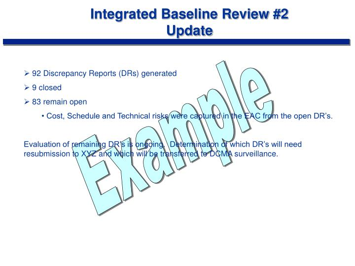 Integrated Baseline Review #2