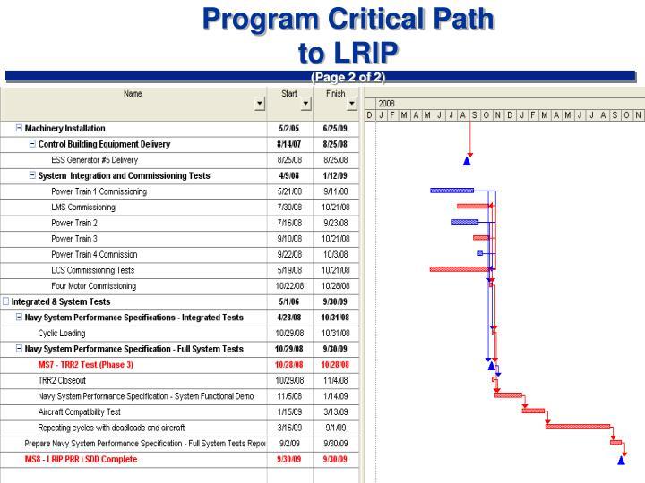 Program Critical Path