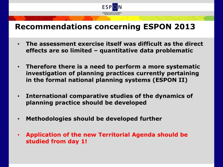 Recommendations concerning ESPON 2013