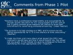 comments from phase 1 pilot