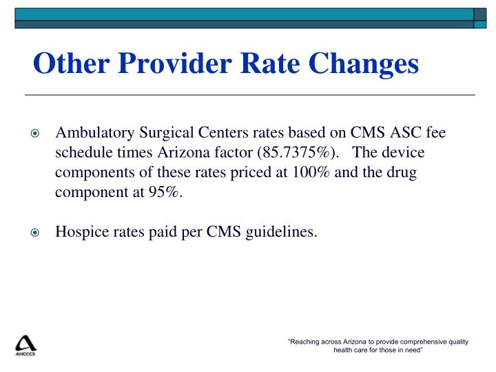 Other Provider Rate Changes