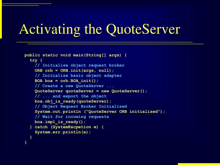 Activating the QuoteServer