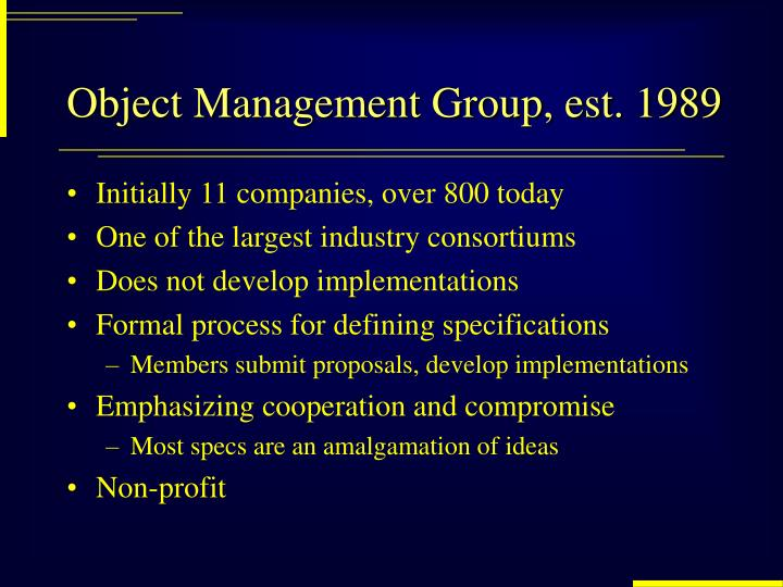 Object Management Group, est. 1989