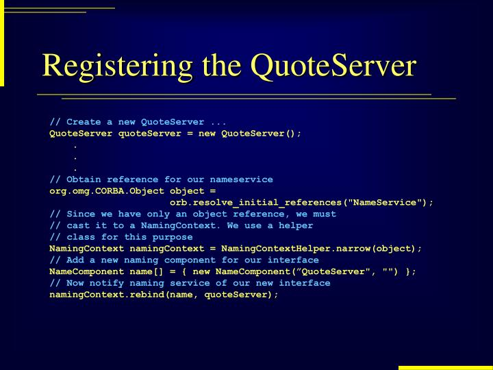Registering the QuoteServer