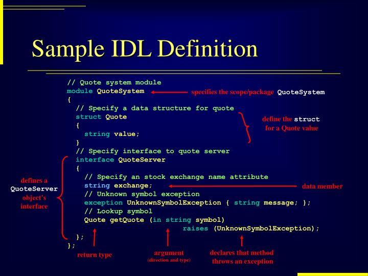 Sample IDL Definition