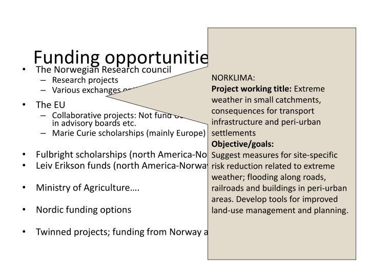 Funding opportunities in Norway
