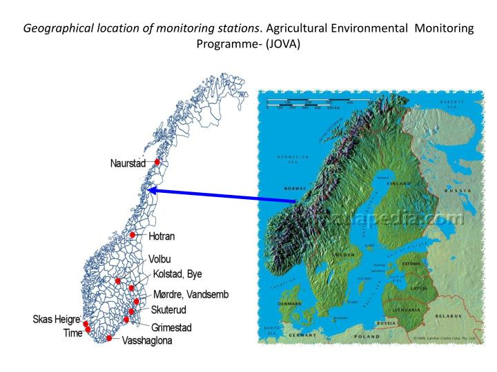 Geographical location of monitoring stations