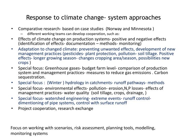 Response to climate change- system approaches