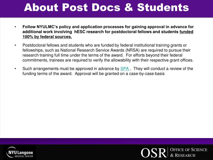 About Post Docs & Students
