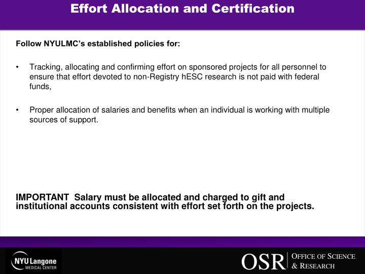 Effort Allocation and Certification