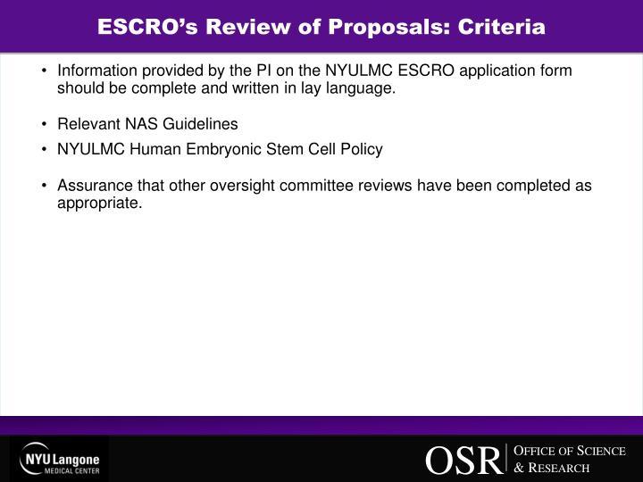 ESCRO's Review of Proposals: Criteria