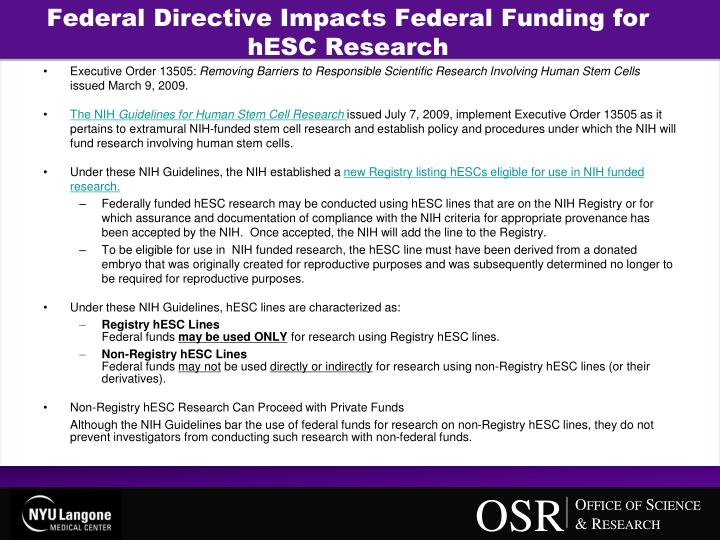 Federal Directive Impacts Federal Funding for hESC Research
