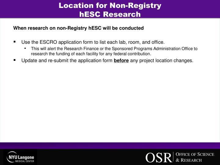 Location for Non-Registry