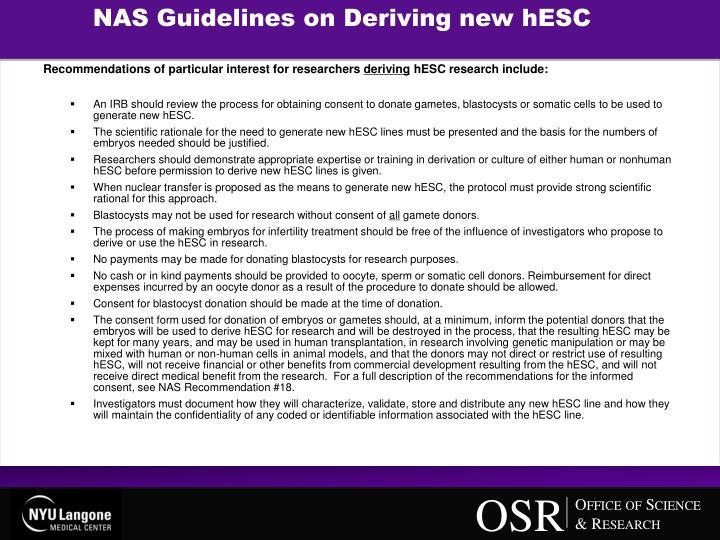 NAS Guidelines on Deriving new hESC