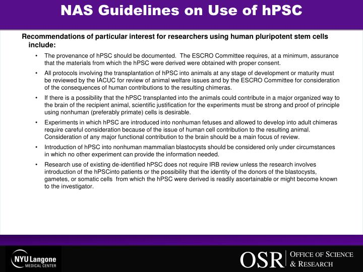 NAS Guidelines on Use of hPSC