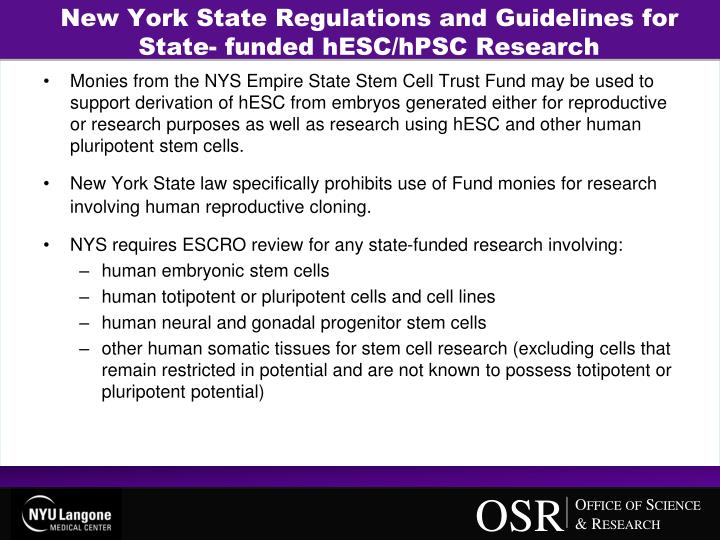 New York State Regulations and Guidelines for State- funded hESC/hPSC Research