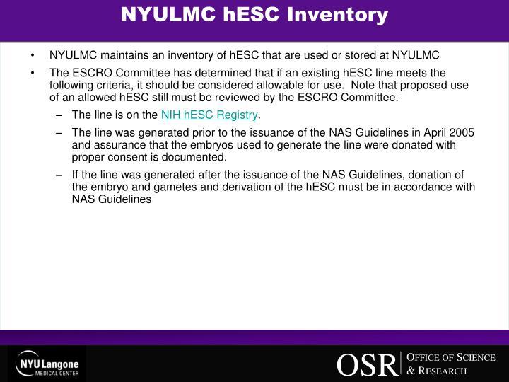NYULMC hESC Inventory
