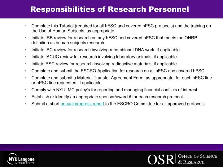 Responsibilities of Research Personnel