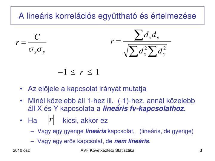 A lineáris korrelációs együttható és értelmezése