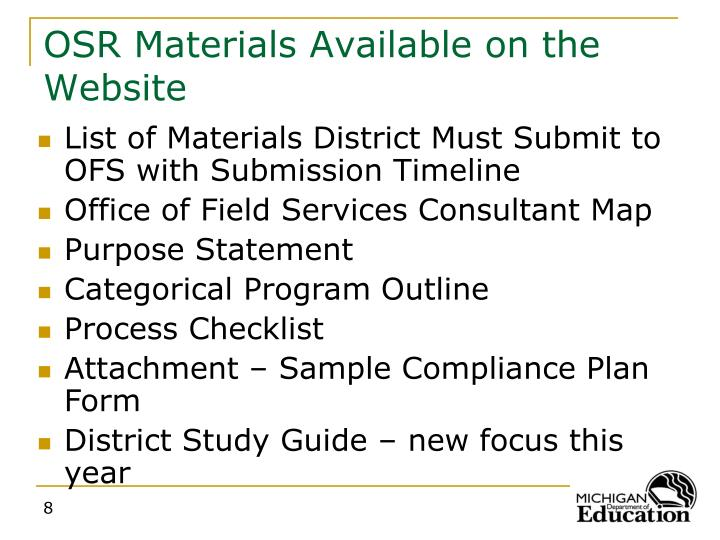 OSR Materials Available on the Website