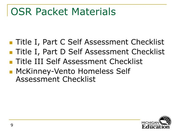 OSR Packet Materials