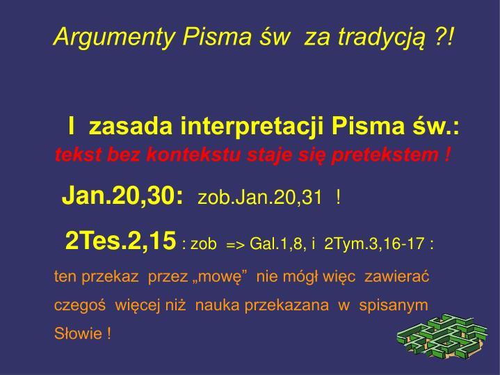 I  zasada interpretacji Pisma św.: