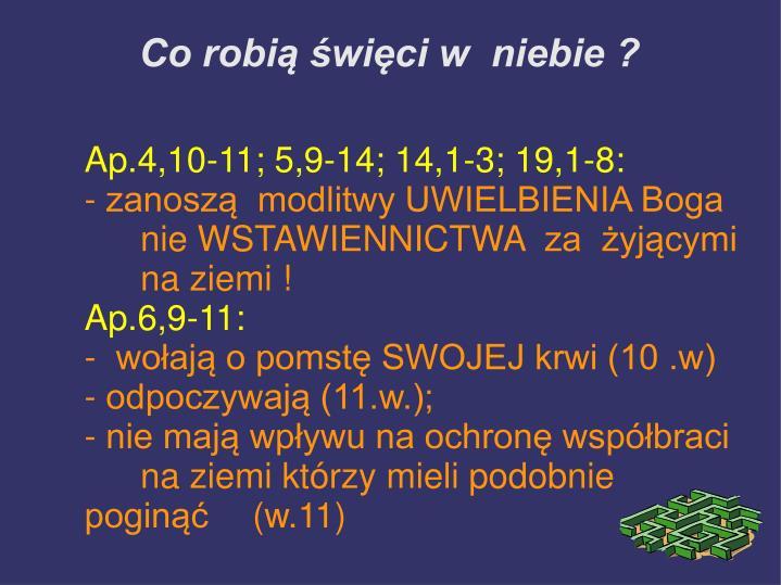 Ap.4,10-11; 5,9-14;14,1-3; 19,1-8: