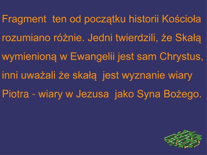 Fragment  ten od początku historii Kościoła rozumiano różnie. Jedni twierdzili, że Skałą wymienioną w Ewangelii jest sam Chrystus, inni uważali że skałą  jest wyznanie wiary Piotra - wiary w Jezusa  jako Syna Bożego.