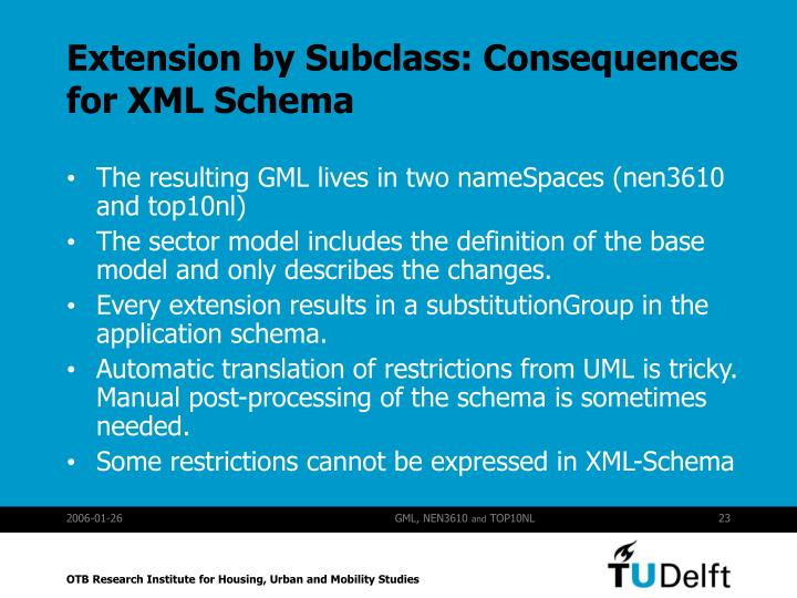 Extension by Subclass: Consequences for XML Schema