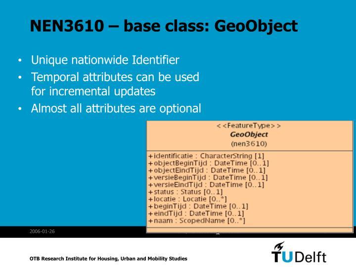 NEN3610 – base class: GeoObject