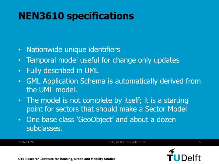 NEN3610 specifications