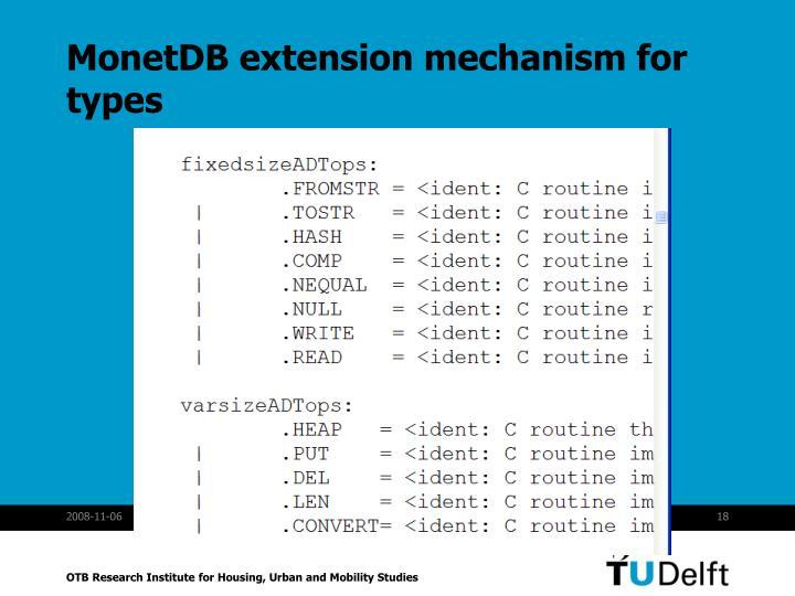 MonetDB extension mechanism for types