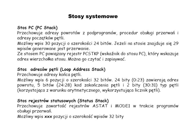 Stosy systemowe