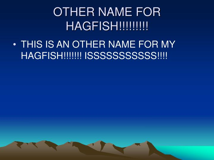 OTHER NAME FOR HAGFISH!!!!!!!!!