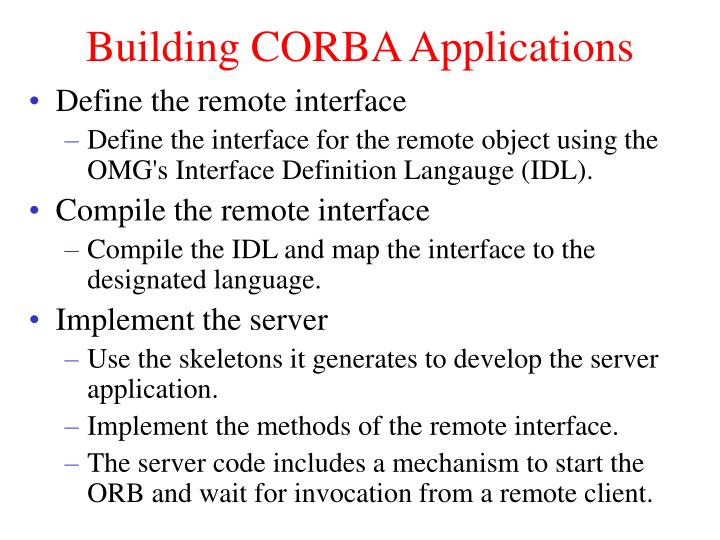 Building CORBA Applications