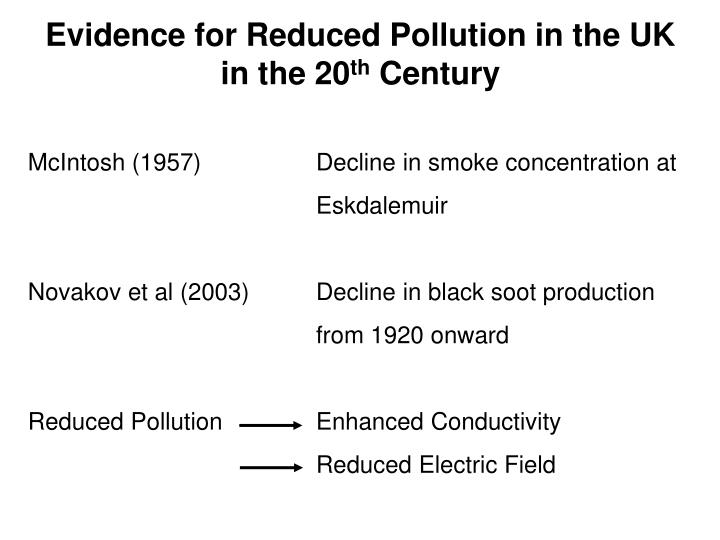 Evidence for Reduced Pollution in the UK in the 20