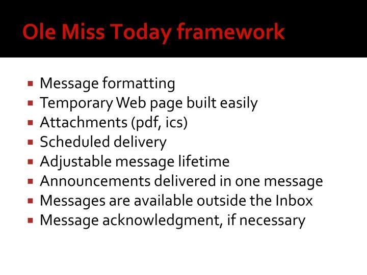 Ole Miss Today framework