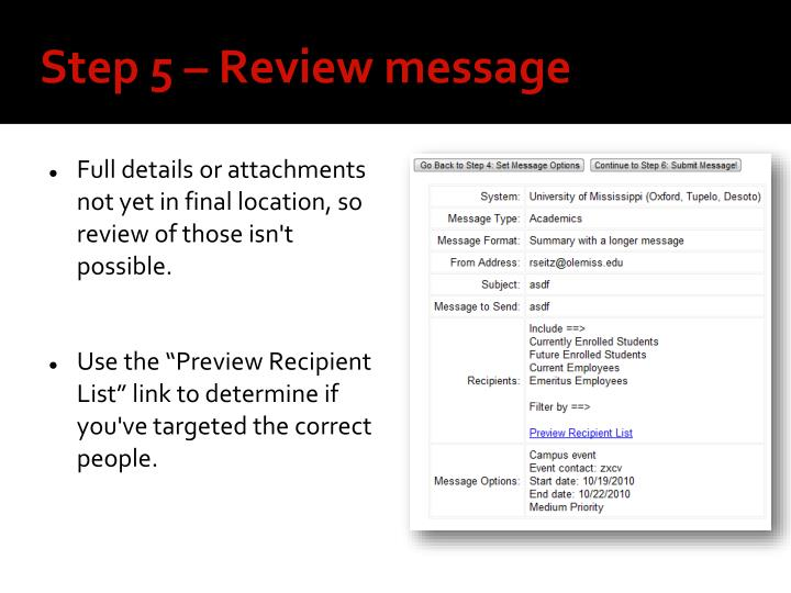 Step 5 – Review message