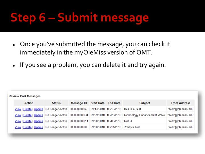 Step 6 – Submit message