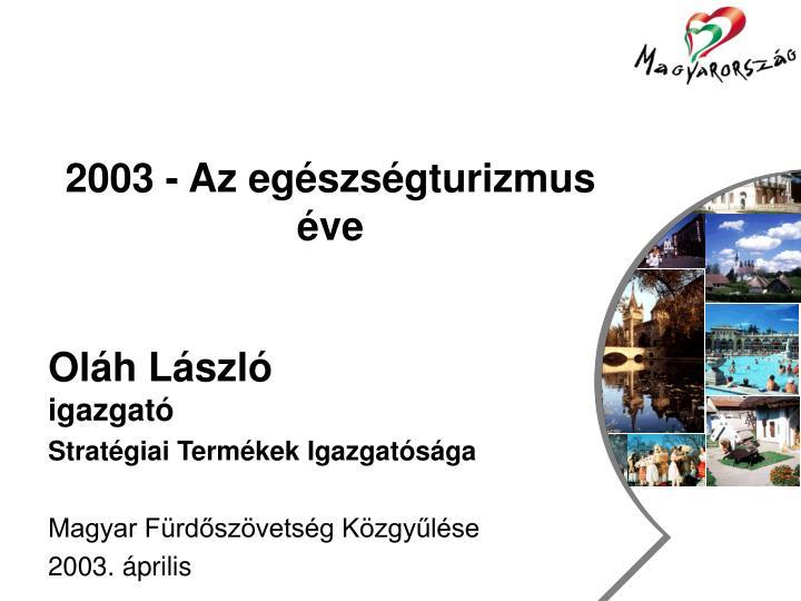 2003 - Az egészségturizmus éve