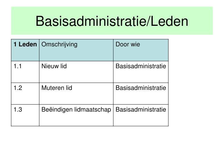 Basisadministratie/Leden
