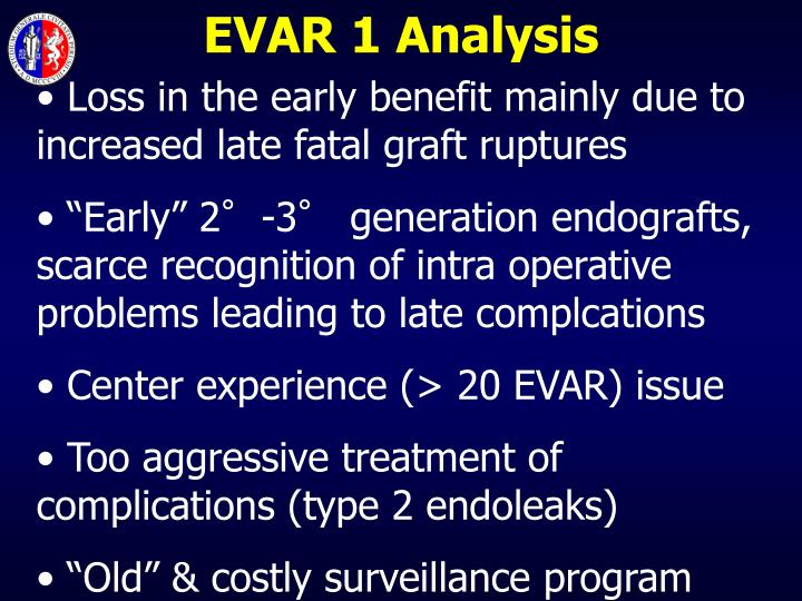EVAR 1 Analysis