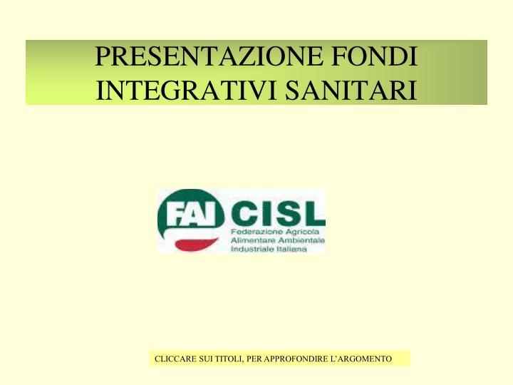 presentazione fondi integrativi sanitari