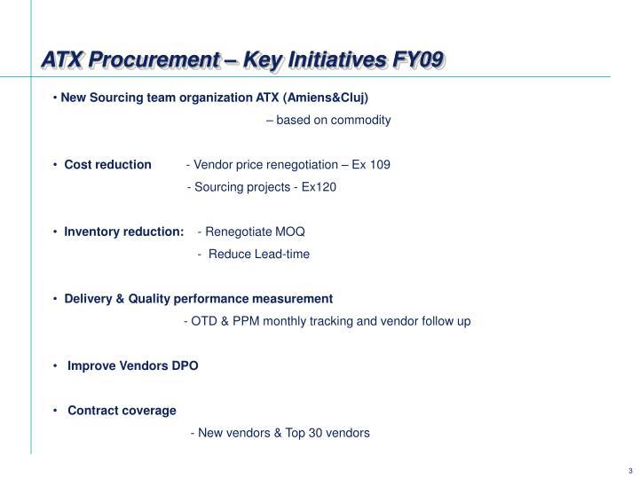 ATX Procurement – Key Initiatives FY09