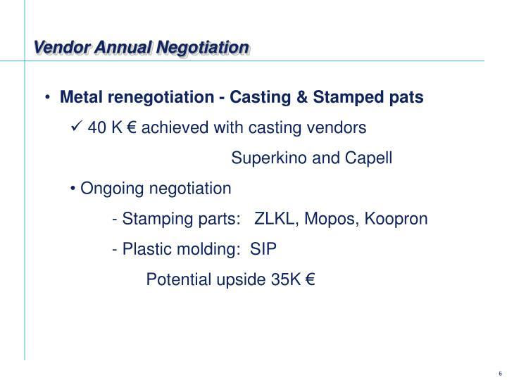 Vendor Annual Negotiation