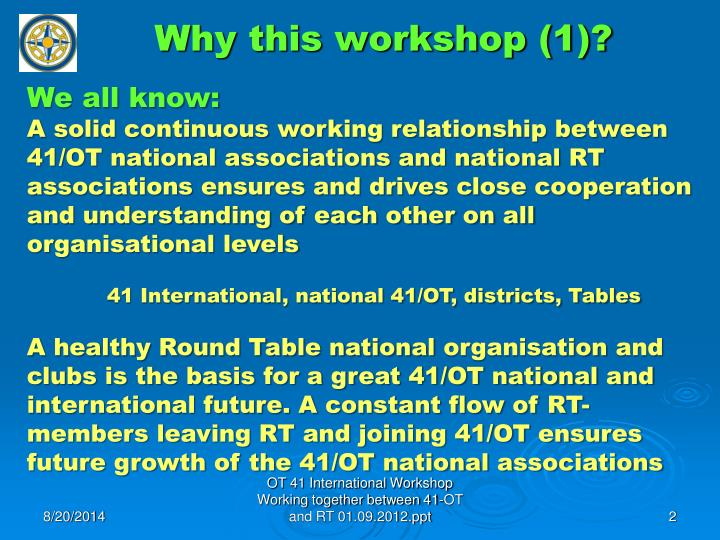 Why this workshop (1)?