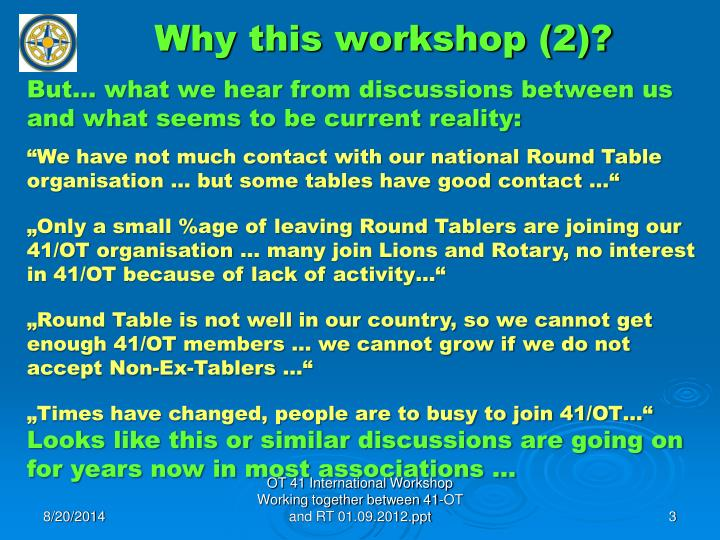 Why this workshop (2)?
